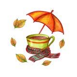 Copo e guarda-chuva ilustração stock