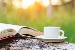 Copo e livro de café na madeira foto de stock