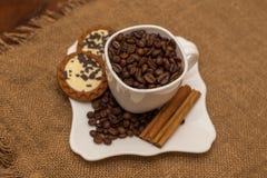 Copo e pires brancos da cookie da canela dos feijões de café Imagem de Stock Royalty Free