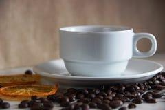 copo e pires clássicos brancos, feijões de café e canecas alaranjadas secadas amor clássico do café e do citrino fotos de stock royalty free