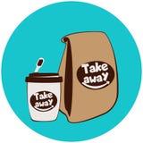 Copo e sacos de papel descartáveis do fast food ilustração royalty free