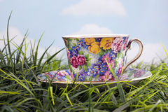 Copo e saucer florais bonitos na grama Imagens de Stock Royalty Free