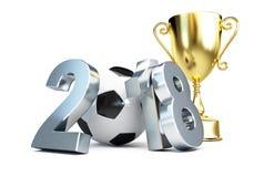 Copo 2018 em uma ilustração branca do fundo 3D, rendição do ouro do futebol 3D Foto de Stock