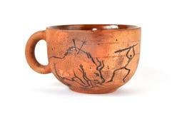 Copo Handmade do produto de cerâmica no estilo antigo da arte Fotografia de Stock