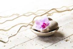 Copo mineral com pedras e flor para a atitude do zen Imagens de Stock