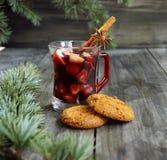 Copo Natal quente do vinho ferventado com especiarias foto de stock royalty free