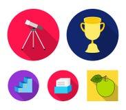 Copo, prêmio, telescópio, catálogo em uma caixa e suporte da honra Os ícones ajustados da coleção da escola no estilo liso vector ilustração royalty free