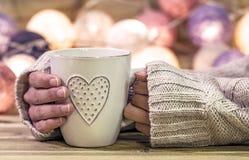 Copo quente com coração Foto de Stock