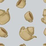 Copo sem emenda do fundo do teste padrão do chá e do bule Fotos de Stock Royalty Free