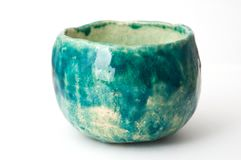 Copo verde da cerâmica Fotografia de Stock Royalty Free