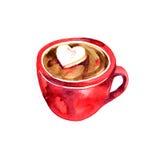 Copo vermelho bonito Chocolate quente e Marshmallows Ilustração da aguarela Fotos de Stock