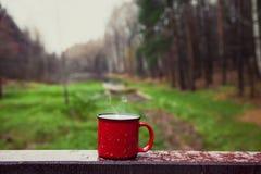 Copo vermelho com uma bebida na ponte de madeira na floresta Foto de Stock