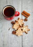 Copo vermelho do chá e das cookies do Natal Foto de Stock Royalty Free
