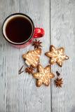 Copo vermelho do chá e das cookies do Natal Fotografia de Stock
