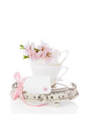 Copos & Saucers da flor Fotografia de Stock Royalty Free