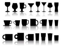 Copos, canecas, wineglasses ilustração do vetor