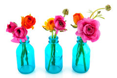 Copos coloridos da manteiga em uns vasos azuis Imagem de Stock