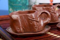 Copos da argila para o chá Fotos de Stock Royalty Free
