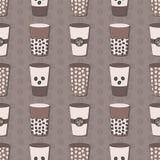 Copos de café ajustados Teste padrão dos feijões de café Imagens de Stock
