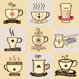 Copos de café com logotipos, Fotos de Stock Royalty Free