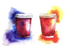 Copos de café de papel da aquarela com respingo e mancha Imagem de Stock