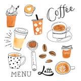 Copos de café desenhados à mão Imagens de Stock Royalty Free