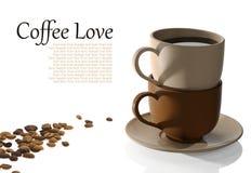 Copos de café e feijões de café Fotografia de Stock Royalty Free