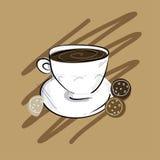 Copos de café e feijões de café frescos ao redor Fotografia de Stock