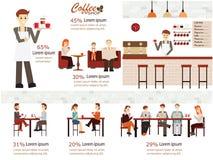 Copos de café e feijões de café frescos ao redor Ilustração do Vetor