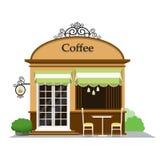 Copos de café e feijões de café frescos ao redor Café da rua no projeto liso do estilo Ilustração do vetor ilustração royalty free