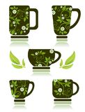 Copos de chá ajustados Fotos de Stock Royalty Free