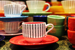 Copos de chá coloridos Fotografia de Stock