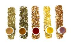 Copos de chá com vários chás coloridos fotos de stock royalty free