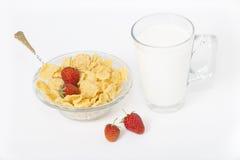 Copos de maíz con leche y fresas Imagen de archivo libre de regalías