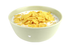 Copos de maíz y leche Fotos de archivo