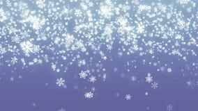 Copos de nieve abstractos de plata del brillo para el fondo azul animado de la Navidad libre illustration
