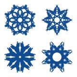 Copos de nieve azules brillantes del vector con color azul imagen de archivo libre de regalías
