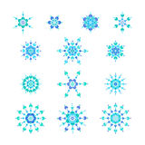 Copos de nieve azules determinados stock de ilustración