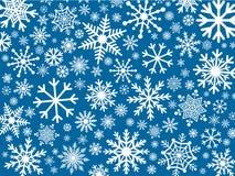 Copos de nieve blancos en fondo azul ilustración del vector