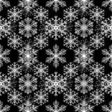 Copos de nieve blancos en fondo negro Modelo inconsútil de la Navidad ilustración del vector