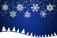 Copos de nieve blancos en un fondo azul abstracto Imágenes de archivo libres de regalías