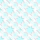 Copos de nieve blancos y Rhombus blancos en seaml azul plano del ornamento Fotografía de archivo