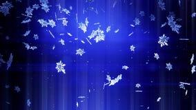 Copos de nieve brillantes 3d que flotan en aire en la noche en un fondo azul Uso como tarjeta de la Navidad animada, del Año Nuev