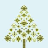 Copos de nieve cobardes del árbol de navidad Foto de archivo libre de regalías