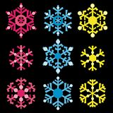 Copos de nieve coloreados stock de ilustración
