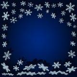 Copos de nieve con la sombra Fondo azul de la Navidad Foto de archivo