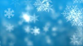Copos de nieve contra fondo azul stock de ilustración