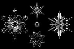 Copos de nieve cristalinos Imagenes de archivo
