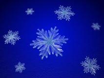 Copos de nieve cristalinos en azul Fotos de archivo