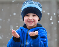 Copos de nieve de cogida Imagenes de archivo